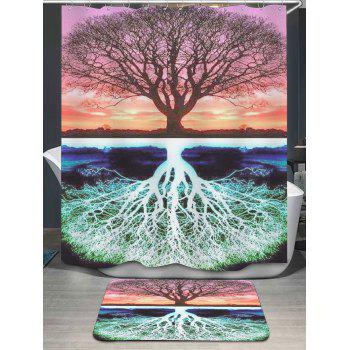 Tree Pattern Shower Curtain and Area Rug
