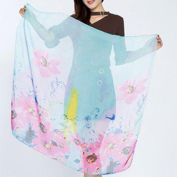 Flower Splash Ink Printed Chiffon Square Scarf - AZURE AZURE
