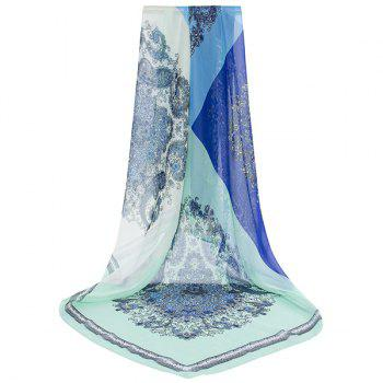 Arab Printed Color Block Chiffon Square Scarf -  BLUE