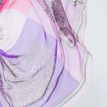Arab Printed Color Block Chiffon Square Scarf -  PURPLE