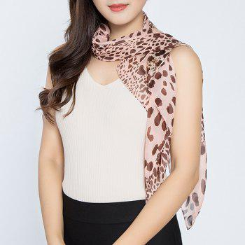 Cheetah Printed Color Block Chiffon Square Scarf