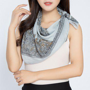 Vintage Rhombus Printed Chiffon Square Scarf -  LIGHT GRAY