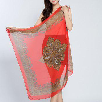 Vintage Rhombus Printed Chiffon Square Scarf - RED RED