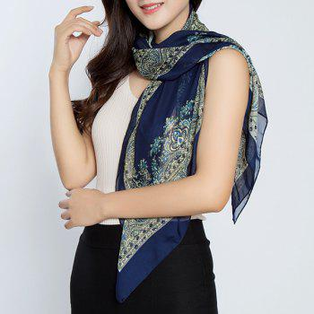 Vintage Rhombus Printed Chiffon Square Scarf - MIDNIGHT MIDNIGHT