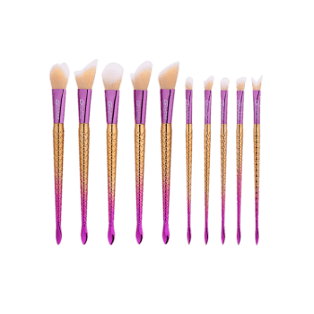 10Pcs Ombre Mermaid Handle Makeup Brushes Set -  COLORMIX