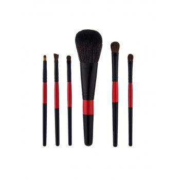 6Pcs Color Block Nylon Makeup Brushes Set - BLACK BLACK