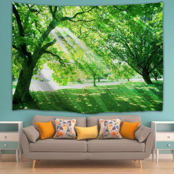 Sunlight Tree Print Tapestry Wall Hanging Art - GREEN W71 INCH * L91 INCH