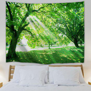 Sunlight Tree Print Tapestry Wall Hanging Art - GREEN GREEN