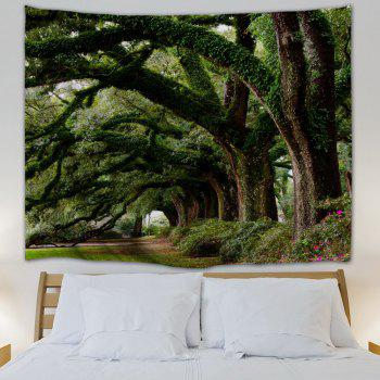 Wall Hanging Art Trees Avenue Print Tapestry - GREEN W59 INCH * L59 INCH