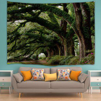 Wall Hanging Art Trees Avenue Print Tapestry - GREEN GREEN