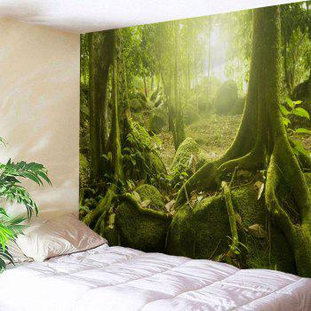 Sunlight Forest Polyester Throw Wall Art Tapestry - YELLOW GREEN YELLOW GREEN