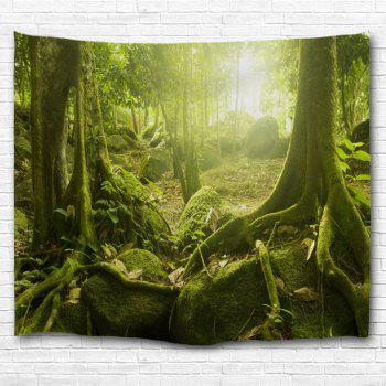 Sunlight Forest Polyester Throw Wall Art Tapestry - YELLOW GREEN W59 INCH * L79 INCH
