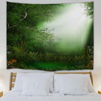 Dreamlike Forest Throw Dorm Decoration Wall Tapestry - GREEN GREEN