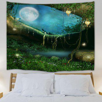 Wall Hanging Fairy Forest Home Decor Tapestry - GREEN GREEN