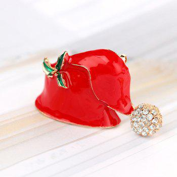 Rhinestones Christmas Hat Brooch -  RED