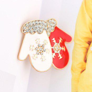 Rhinestones Snowflake Gloves Brooch - RED