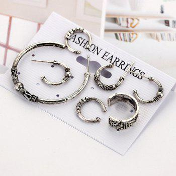 Punk Rock 7 Pieces Hoop Earrings - SILVER