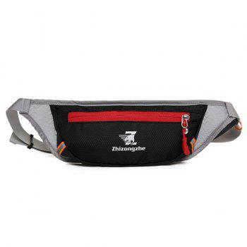 Color Block Light Weight Breathable Waist Bag - BLACK BLACK