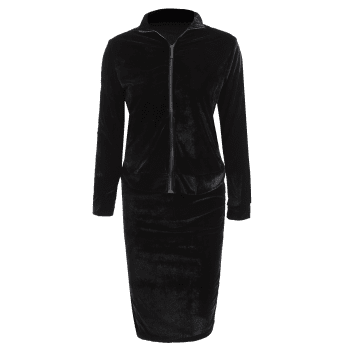 Cosy Pleuche Zipper Jacket With Pencil Skirt Twinset - M M