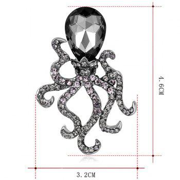 Rhinestone Faux Crystal Inlay Octopus Brooch - BLACK