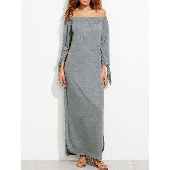 Off The Shoulder Long Sleeve Maxi Shift Dress