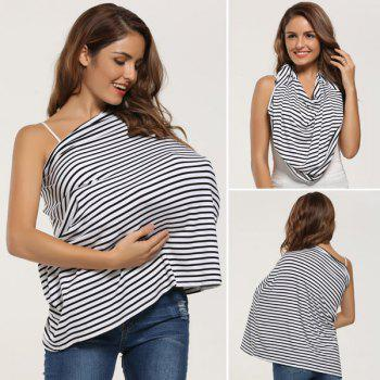 Portable Stripe Breastfeeding Nursing Cover - WHITE WHITE