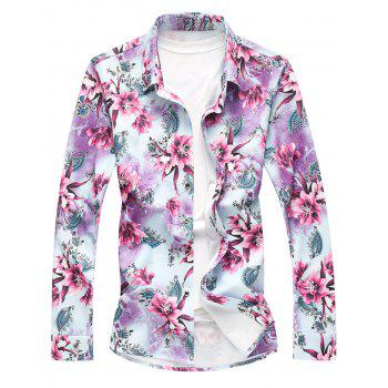 Plus Size Long Sleeve Floral Shirt