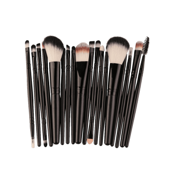 18Pcs Multipurpose Facial Makeup Brushes Set - BLACK BLACK