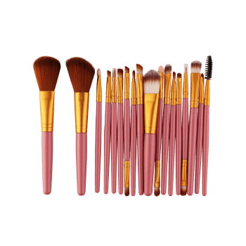 18Pcs Multipurpose Facial Makeup Brushes Set - GOLD AND PINK GOLD/PINK