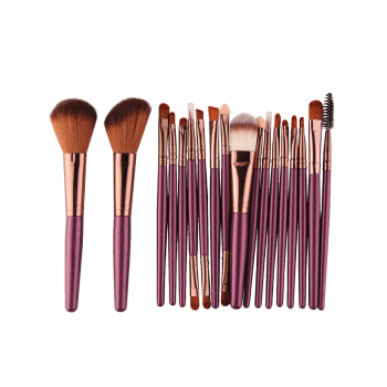 18Pcs Multipurpose Facial Makeup Brushes Set - BROWNISH PURPLE BROWNISH PURPLE