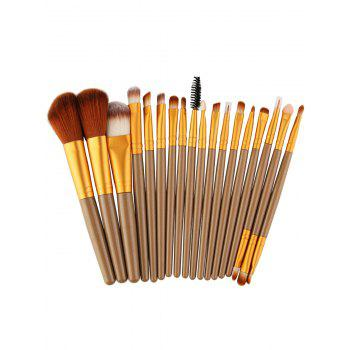 18Pcs Multipurpose Facial Makeup Brushes Set - BROWN AND GOLDEN BROWN/GOLDEN