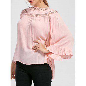 Lace Insert Flounced Flare Sleeve Blouse