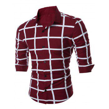 Grid Checkered Geometric Long Sleeve Shirt