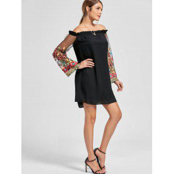Embroidery Flare Sleeve Off The Shoulder Dress - L L