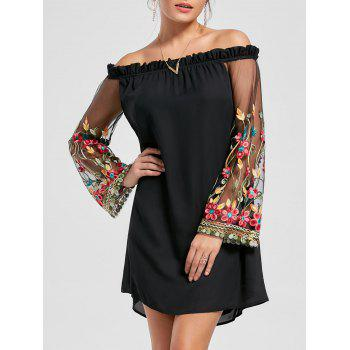 Embroidery Flare Sleeve Off The Shoulder Dress