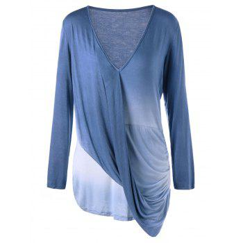 Plus Size Ombre Long Sleeve Draped Top