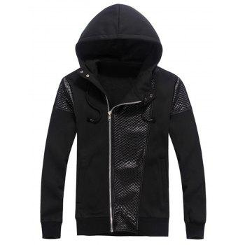 Faux Leather Embossed Panel Zip Hoodie