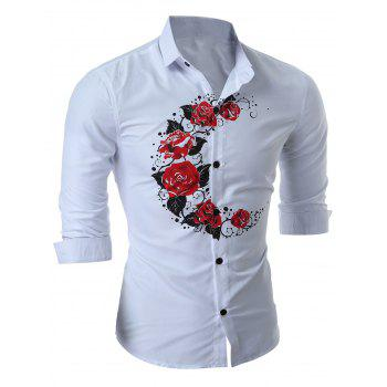 Rose Print Slim Long Sleeve Shirt