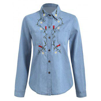 Floral Embroidered Tunic Chambray Shirt