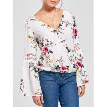 Allover Floral Flare Sleeve Blouse