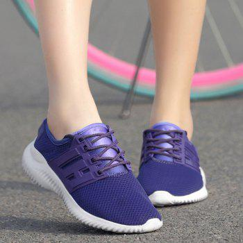Sports Color Block Breathable Sneakers - PURPLE 38