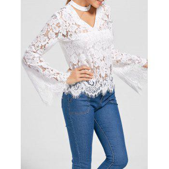Flare Sleeve Choker Neck Lace Blouse