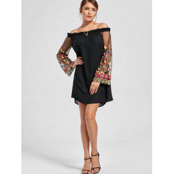 Embroidery Flare Sleeve Off The Shoulder Dress - BLACK M