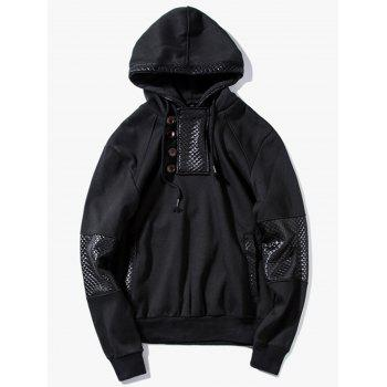 Button Faux Leather Trim Pullover Hoodie