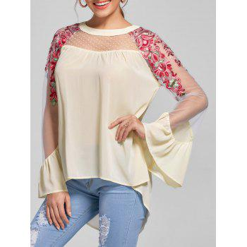 Embroidery Flare Sleeve High Low Hem Blouse