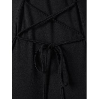 Lace Up Cold Shoulder Hooded Dress - BLACK BLACK
