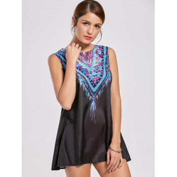 Ethnic Style Sleeveless Scoop Neck Printed Women's Dress - BLACK M