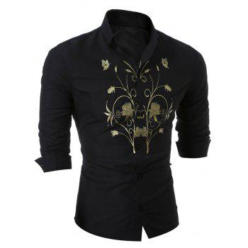 Insect Butterfly Floral Long Sleeve Shirt - BLACK M