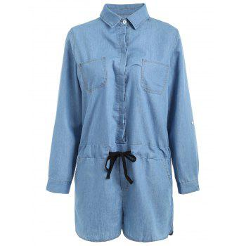 Turn-Down Collar Casual Long Sleeve Denim Romper