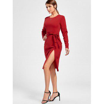 Long Sleeve Side Slit Dress - RED RED